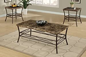 Piece Country Style Faux Marble Coffee Table End Tables Set