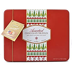 Lindt LINDOR Assorted Chocolate Truffles Holiday Gifting Tin, 12.7 oz.