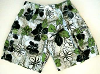 Mens Floral Swim Trunks 4300 White/Green 4XL