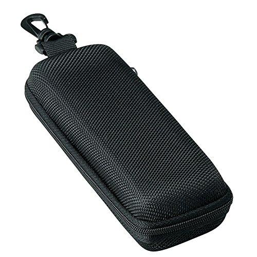 メガネケース ウレタン セミ ハードケース スクエア  (ファスナー式 フック付き) ブラック