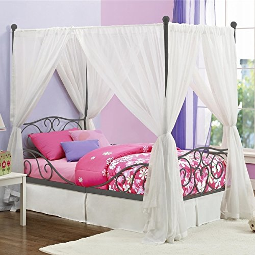 Girl s grey metal canopy bed twin sized princess gray frame vintage antique french country Best deal on twin mattress