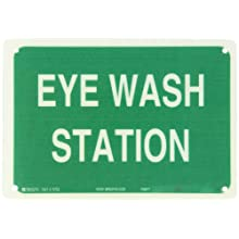 "Brady White On Green Color First Aid Sign, Legend ""Eye Wash Station"""