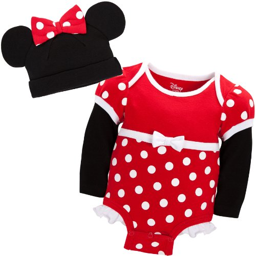 Disney Store Red Minnie Mouse Onesie Costume Bodysuit Size 6-12 Months with Hat
