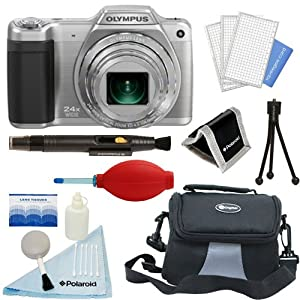 Olympus Stylus SZ-15 Digital Camera with 24x Optical Zoom (Silver) + Case + Deluxe Starter Kit