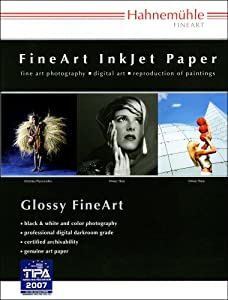 "Hahnemuhle Fine Art Baryta 325, Ultra Smooth High Gloss, Bright White Inkjet Paper, 325gsm, 11 x 17"", 25 Sheets"
