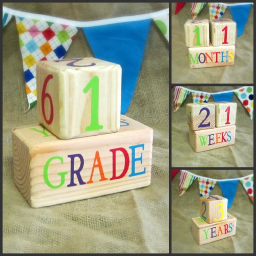Baby Age Blocks: Shower Gift, Photo Prop & Nursery Decoration - Colorful On Natural Age Blocks front-735576