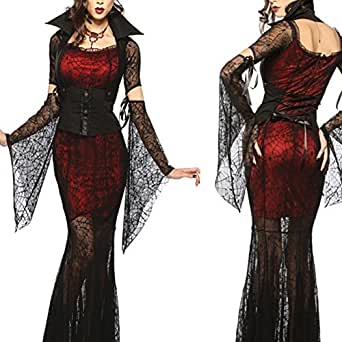 Black Women Lady Halloween Party Vampire Witch Cosplay Costumes Dress Suits