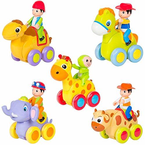 [(Set of 5) Push and Go Friction Powered Animal Cars Fun Toys Stocking Stuffer] (Ride On Elephant Costume)
