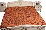 Indian Traditional Ethnic Tapestry Orange Patchwork Elephant Bedspread Bed Cover 90x108 Inches