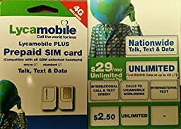 Lycamobile Preloaded $29 plan (first month fee included) unlimited talk,txt, and fast unlimited Data, call 20 + country free