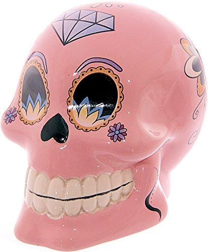 Alla moda salvadanaio/salvadanaio ~ ~ Skull/teschio/del giorno dei morti ~ ~ colore: rosa, 10cm