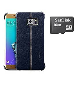 Mobimax Vorson Lexza Series Double Stitch Leather Shell with Metallic Logo Display Back Cover For Samsung Galaxy S7 Edge-Blue With Sandisk Memory Card 16GB
