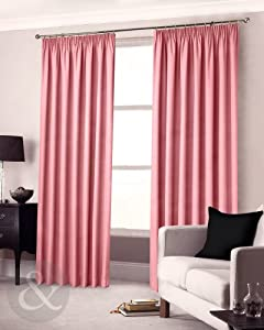 Clearance Pink Pencil Pleat Curtains 90 X 90 Semi Blackout Lined Curtain Pair Pink 90 X 90