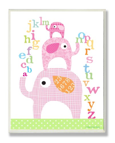 The Kids Room by Stupell Pink Elephants with Alphabet Rectangle Wall Plaque
