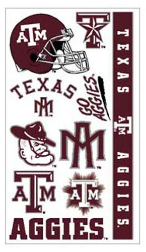Texas A&M Aggies Temporary Tattoos Easily Removed With Household Rubbing Alcohol Or Baby Oil by CAS