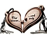 Herz Puzzle Echtholz Schlüsselanhänger - 2 teilig - schöne Geschenkidee für Paare - vorgraviert mit Text: Für immer ... und ewig