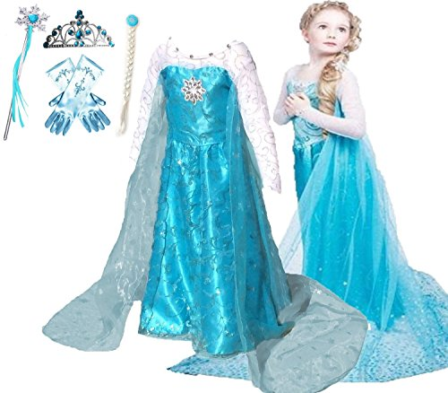 [Romy's Collection - Ice Queen Glitter Costume Dress (Blue, 6-7)] (Princess Glitter Costumes)