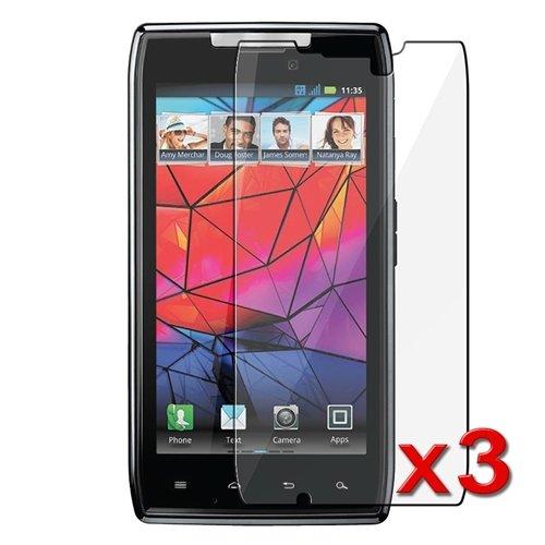 Clear Screen Protectors / Covers for Motorola Droid RAZR XT910, 3-Pack Combo