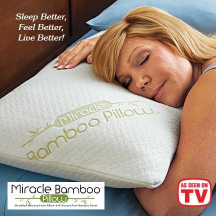 New Miracle Bamboo Pillow Queen Size As Seen On Tv Memory