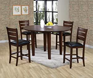 Acme 00684 Urbana Drop Leaf Round Counter Height Dining Table, Cherry Finish