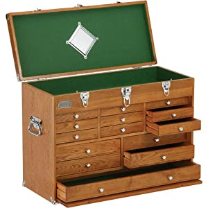 H8266 Machinist's 14 Drawer Oak Chest - Wooden Tool Chest - Amazon.com