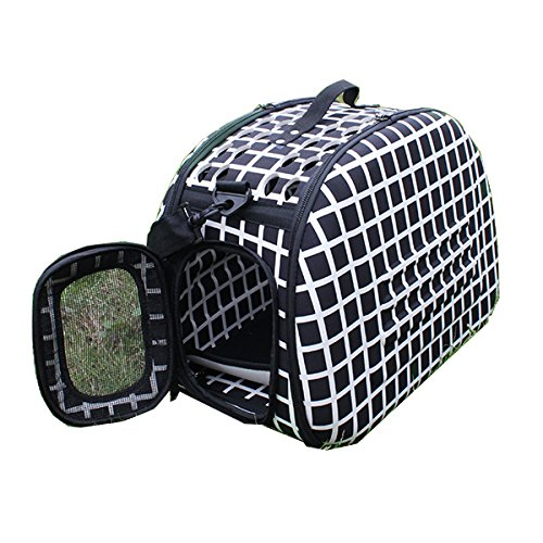 AGPtek® Folding Pet Carriers Dog Cat Soft Travel Tote Bag, black and white,Size 17″L x 9.8″W x 13″ H,for Pets up to 15 lbs