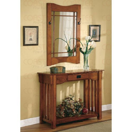 Cheap 2pcs Mission Style Entry Way Foyer Console Table & Mirror Set By Coaster (VF_950060)