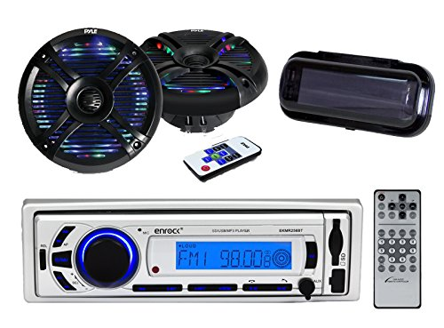New Silver Marine Outdoor Bluetooth AM/FM Radio USB/SD iPod/MP3 Input W/Remote & Cover 2 x Pyle Hydra 6.5'' Inch Waterproof Marine Speakers with LED Lights, Remote 250Watt - Outdoor Stereo Kit (Black)