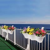Wonderland Set of 2 High Quality PP 2 feet long Railing Planters / Pots in White color for Balcony & Garden