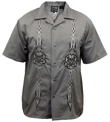 Skull and Pinstripes Biker Work Shirt, Gray, Dragonfly (3X)