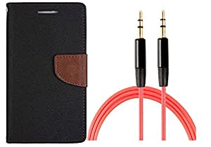 Novo Style Wallet Case Cover For Samsung GalaxyA3 Black + 3 feet Slim 3.5mm Music Record Stereo Audio Auxiliary AUX Cable Cord
