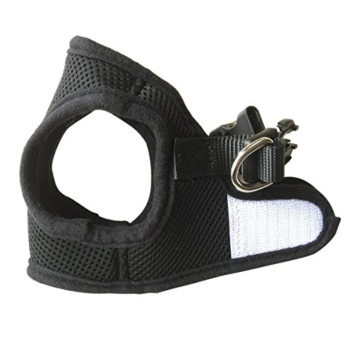 FUNPET Soft Mesh Dog Harness Vest No Pull Comfort Padded for Small Pet Cat and Puppy Solid Black XS