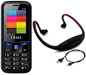 I KALL K16 Blue Dual Sim mobile with neckband