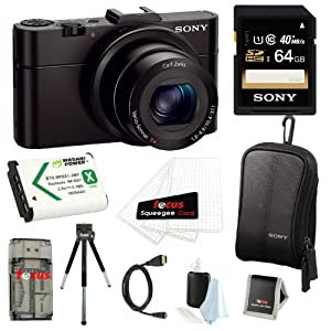 Sony Cyber-shot DSC-RX100M2/B RX100M2 RX100M II RX100MII 20.2MP Wi-Fi Digital Camera with F1.8 Carl Zeiss Vario-Sonnar T Lens and Full HD 1080p Video at 60fps + Sony 64GB SDHC Class 10 Memory Card + Wasabi NP-BX1 Battery Pack + Sony Camera Case + Micro HDMI Cable + Focus Multi Memory Card Wallet