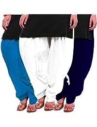 Women's Sky-White-Blue Cotton Patiala Salwar