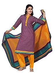 DARPAN TEXTILES Ethnicwear Women's DressMaterial(Purple_Free Size)