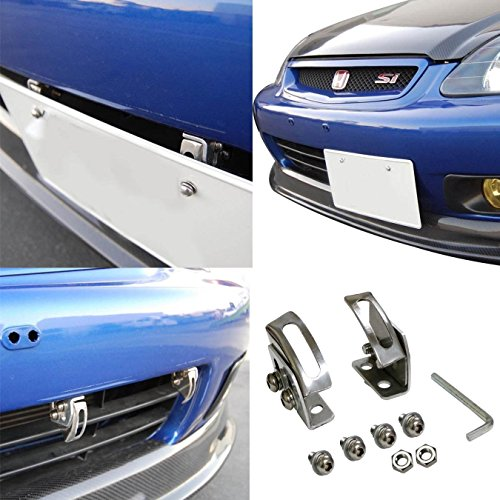 iJDMTOY Universal Fit JDM Bumper License Plate Relocator Bracket Holder w/ Angle Adjustable for JDM Style (Cayenne License Plate Frame compare prices)