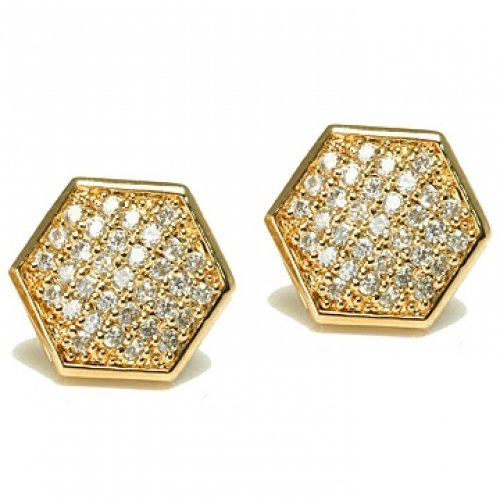 Bling Jewelry Gold Vermeil Micro Pave Hexagon Stud Earrings 11mm
