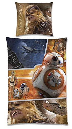 Global Labels G 104 600 SW15 100 Star Wars The Force risveglia, double face - Parure di lenzuola, 135 x 200 cm copripiumino e federa 80 x 80 cm