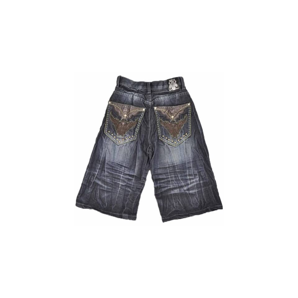 1f1e6f700 GS115 JEANS Dark Denim W/Brown Pocket Big Boys Short (12 on PopScreen