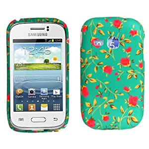 MobileExtraLtd® For Samsung Galaxy Young S6310 S6312 Stylish Printed Design Pink Flower Floral Green Rubber Silicone Back Skin Fits Protective Case Cover+Screen Guard
