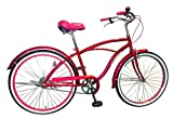 Lupinusルピナス 自転車 26インチ LP-26NBN-RP ビーチクルーザー 極太タイヤ ワイドサドル 100%完成車 ローズピンク