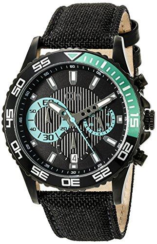 Carlo Monti Avellino Men's Quartz Watch with Black Dial Chronograph Display and Black Fabric Strap CM509-622