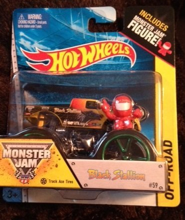 Monster jam BLACK STALLION with track ace tires Includes monster jam figure #59 hot wheels off road - 1