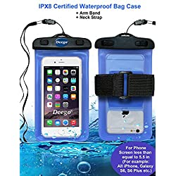 Deego Universal Waterproof Armband Snowproof Case Dry Bag Fit iPhone 6s 6 Plus 5S Galaxy S6 Edge Note 4 HTC One LG G V10 Nexus 6p ipod Touch MOTO 5.5-Inch Diagonal IPX6 Certified to 6.6 Feet (Blue)