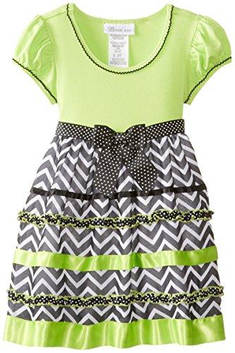 Bonnie Jean Little Girls' Chevron Ribbon Trim Dress, Lime, 4T