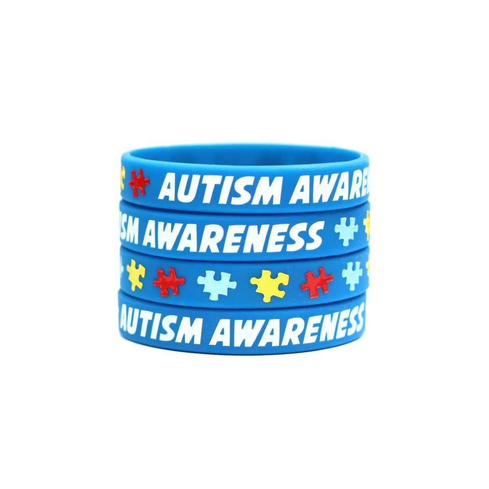 1 Autism Awareness Wristband   Silicone Bracelet with Puzzle Pieces