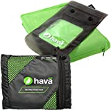Hava: Large 130 x 80cm Antibacterial Microfibre Travel Towel Kit With Zipped Security Pocket and 2 Flight Approved 100ml Bottles. Ideal for Travel, Using at the Beach, Gym and Camping Trips.