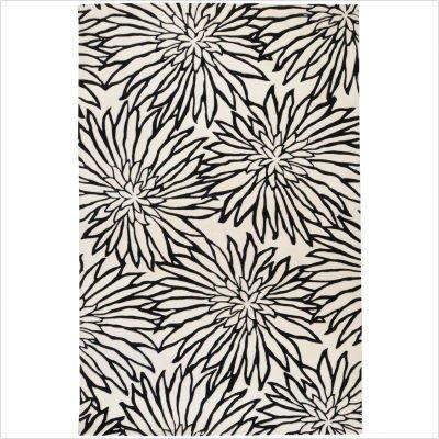 Goa White / Black Contemporary Rug Size: 5' x 8'