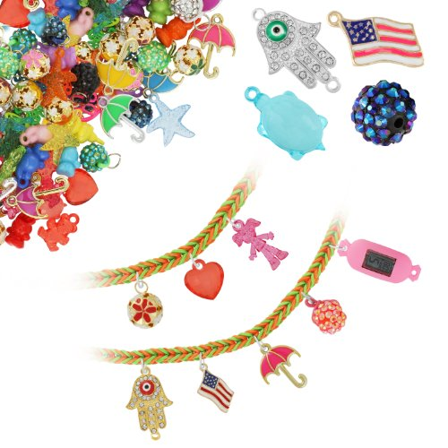 Chromo Inc® Loom Charms 50 Pack Metal and Crystal Charms including Digital Watch, Glitter Globes, American Flags and more - Compatible with all Loom Bands (Charms may vary) - 1